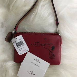 Coach NWT Red Snoopy wristlet